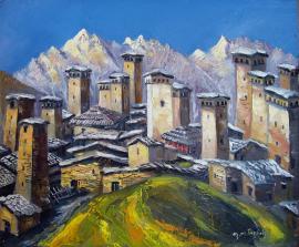 Obraz Fridona Nizharadze przedstawiający Ushguli