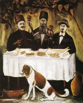Uczta trzech szlachetnie urodzonych, obraz Niko Pirosmaniego