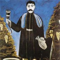 Mężczyzna z rogiem wina - obraz Niko Pirosmaniego do toastu gruzińskiego