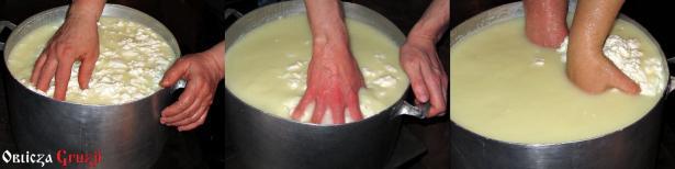 Ręczne mieszanie i zbieranie masy serowej w bryłę