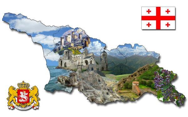Mapa Gruzji z widokami
